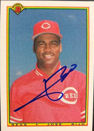 Jose Rijo Signed 1990 Bowman Baseball Card - Cincinnati Reds