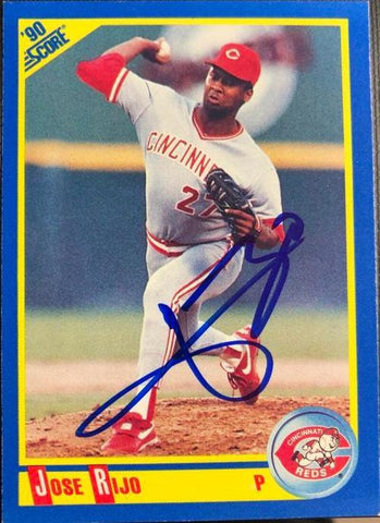 Jose Rijo Signed 1990 Score Baseball Card - Cincinnati Reds