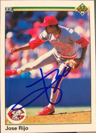 Jose Rijo Signed 1990 Upper Deck Baseball Card - Cincinnati Reds