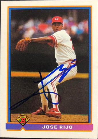 Jose Rijo Signed 1991 Bowman Baseball Card - Cincinnati Reds