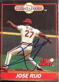 Jose Rijo Signed 1991 Collect-A-Books Baseball Card - Cincinnati Reds