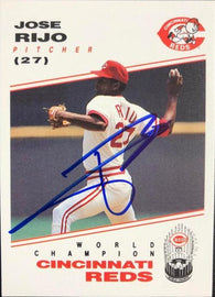 Jose Rijo Signed 1991 Kahn's Baseball Card - Cincinnati Reds