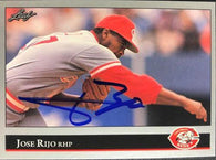 Jose Rijo Signed 1992 Leaf Baseball Card - Cincinnati Reds