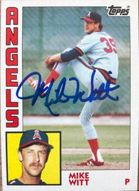 Mike Witt Signed 1984 Topps Baseball Card - California Angels - Perfect Game Inscription