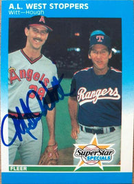 Mike Witt Signed 1987 Fleer Baseball Card - California Angels - AL West Stoppers