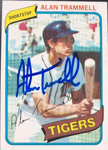 Alan Trammell Signed 1980 Topps Baseball Card - Detroit Tigers - PastPros