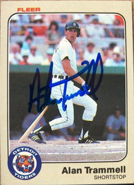 Alan Trammell Signed 1983 Fleer Baseball Card - Detroit Tigers - PastPros