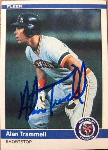 Alan Trammell Signed 1984 Fleer Baseball Card - Detroit Tigers
