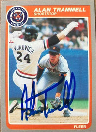Alan Trammell Signed 1985 Fleer Baseball Card - Detroit Tigers