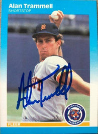 Alan Trammell Signed 1987 Fleer Baseball Card - Detroit Tigers