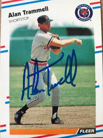 Alan Trammell Signed 1988 Fleer Baseball Card - Detroit Tigers - PastPros
