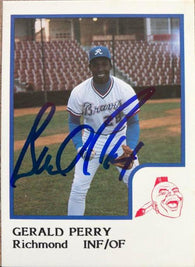 Gerald Perry Signed 1986 Pro Cards Baseball Card - Richmond Braves
