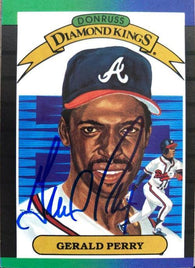 Gerald Perry Signed 1989 Donruss Diamond Kings Baseball Card - Atlanta Braves