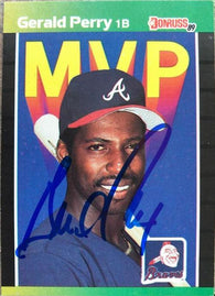 Gerald Perry Signed 1989 Donruss MVP Baseball Card - Atlanta Braves