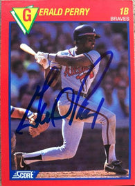 Gerald Perry Signed 1989 Score Baseball's Hottest Players Baseball Card - Atlanta Braves