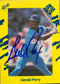 Gerald Perry Signed 1990 Classic Yellow Baseball Card - Kansas City Royals