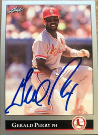 Gerald Perry Signed 1992 Leaf Baseball Card - St Louis Cardinals