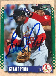 Gerald Perry Signed 1995 Score Baseball Card - St Louis Cardinals