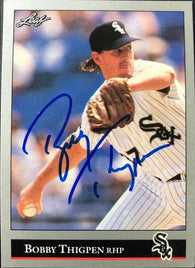 Bobby Thigpen Signed 1992 Leaf Baseball Card - Chicago White Sox