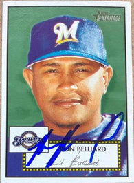Ronnie Belliard Signed 2001 Topps Heritage Baseball Card - Milwaukee Brewers