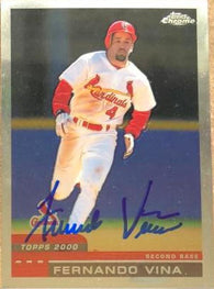 Fernando Vina Signed 2000 Topps Chrome Baseball Card - St Louis Cardinals