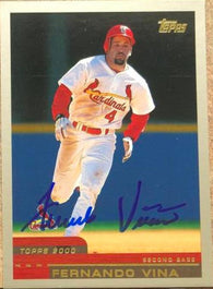 Fernando Vina Signed 2000 Topps Baseball Card - St Louis Cardinals