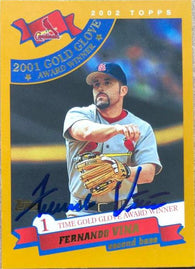 Fernando Vina Signed 2002 Topps Baseball Card - St Louis Cardinals - Gold Glove