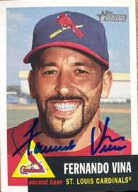 Fernando Vina Signed 2002 Topps Heritage Baseball Card - St Louis Cardinals