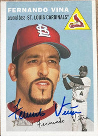 Fernando Vina Signed 2003 Topps Heritage Baseball Card - St Louis Cardinals