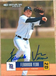 Fernando Vina Signed 2005 Donruss Baseball Card - Detroit Tigers