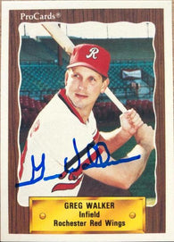 Greg Walker Signed 1990 Pro Cards Baseball Card - Rochester Red Wings