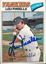 Lou Piniella Signed 1977 Topps Baseball Card - New York Yankees