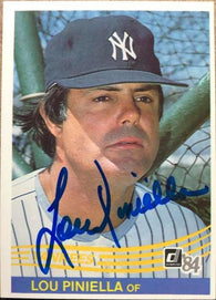 Lou Piniella Signed 1984 Donruss Baseball Card - New York Yankees