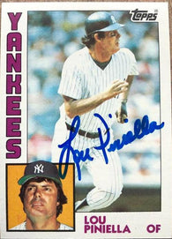 Lou Piniella Signed 1984 Topps Baseball Card - New York Yankees
