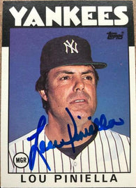 Lou Piniella Signed 1986 Topps Baseball Card - New York Yankees