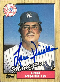 Lou Piniella Signed 1987 Topps Baseball Card - New York Yankees