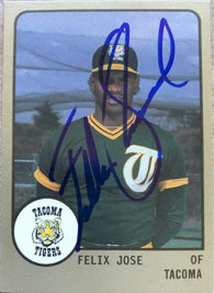 Felix Jose Signed 1988 Pro Cards Baseball Card - Tacoma Tigers