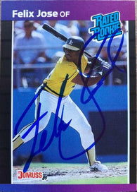 Felix Jose Signed 1989 Donruss Baseball Card - Oakland A's