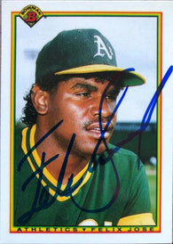 Felix Jose Signed 1990 Bowman Tiffany Baseball Card - Oakland A's