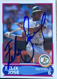 Felix Jose Signed 1990 Score Young Superstars Baseball Card - Oakland A's