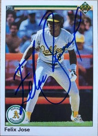 Felix Jose Signed 1990 Upper Deck Baseball Card - Oakland A's