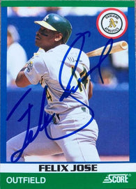 Felix Jose Signed 1991 Score Rising 100 Baseball Card - Oakland A's