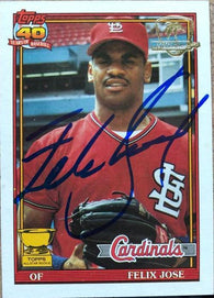 Felix Jose Signed 1991 Topps Desert Shield Baseball Card - St Louis Cardinals