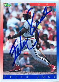 Felix Jose Signed 1992 Classic II Baseball Card - St Louis Cardinals
