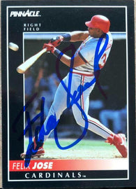 Felix Jose Signed 1992 Pinnacle Baseball Card - St Louis Cardinals