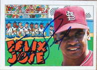 Felix Jose Signed 1992 Topps Kids Baseball Card - St Louis Cardinals