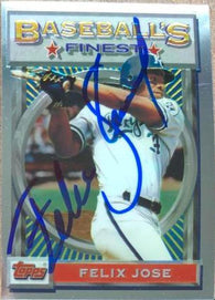 Felix Jose Signed 1993 Topps Finest Baseball Card - Kansas City Royals