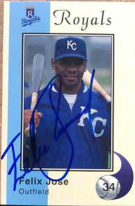 Felix Jose Signed 1994 Royals Police Baseball Card - Kansas City Royals