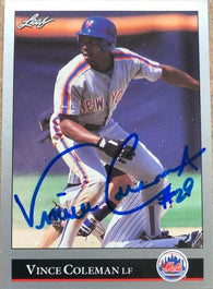 Vince Coleman Signed 1992 Leaf Baseball Card - New York Mets