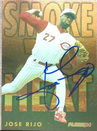Jose Rijo Signed 1994 Fleer Smoke n' Heat Baseball Card - Cincinnati Reds